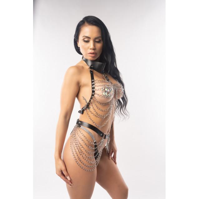 Krystal Black pLeather Waist Fashion Body Chain