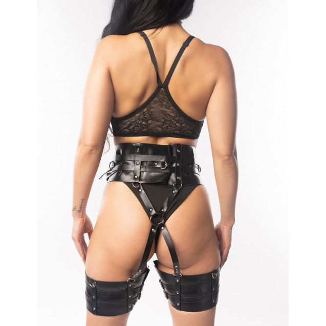 Alanah Black pLeather Waist to Thigh Wide Straps Body Harness