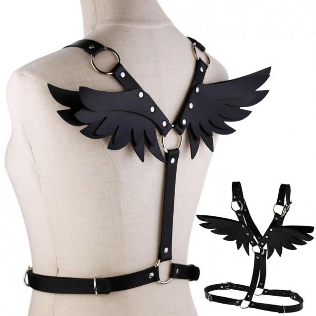 Black pLeather Angel Wings Body Harness
