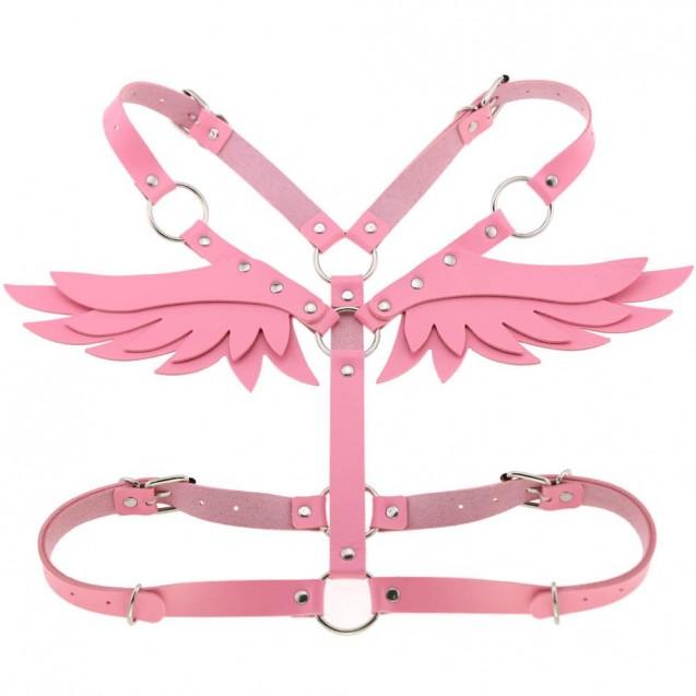 Pink pLeather Angel Wings Body Harness