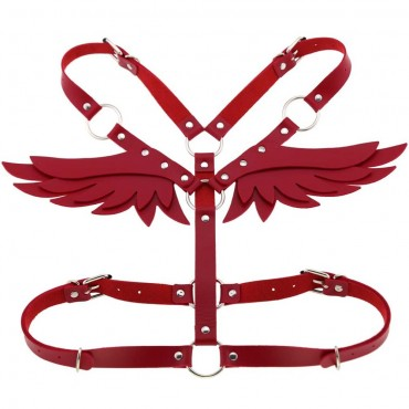 Red pLeather Angel Wings Body Harness