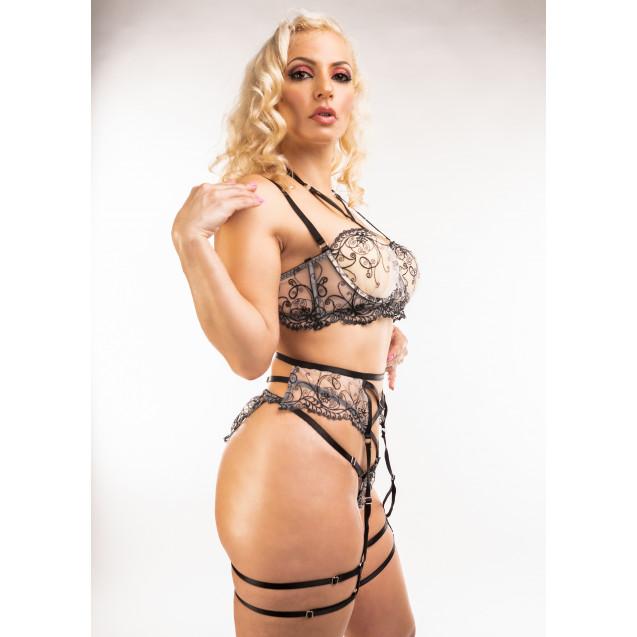 Amber Elegant Strappy Bra Garter Panties Set