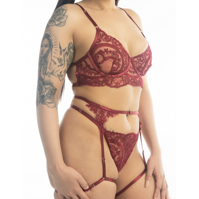 Anne Elegant Burgandy Lace Bra Garter Panties Set