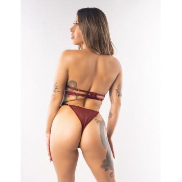 Brooklyn Burgandy Mesh Bra Panties Set