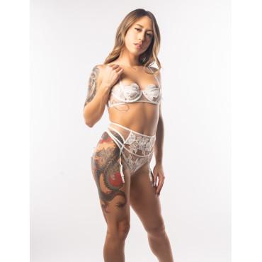 Hayden White Floral Bra Garter Panties Set
