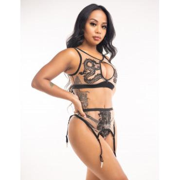 Rose Sexy Drageon Bra with Zipper and Panties Set