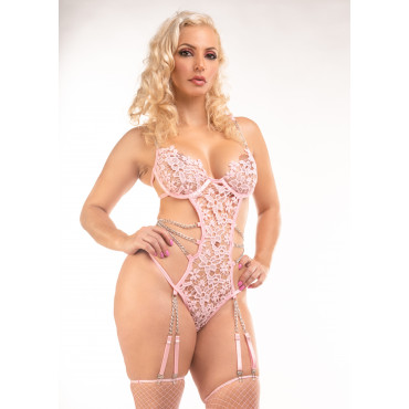 Eva Erotic pink Strappy Body Lingerie with Chains