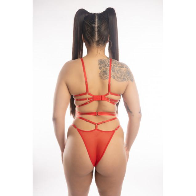 Jennifer Erotic Red Strappy Body Lingerie